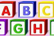 Get ready to read. The English alphabet and some words that start with each letter.