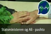 Nyhetssending. Statsministeren og Ali.