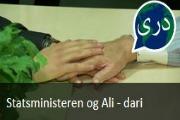 Statsministeren og Ali. Nyhetssending på dari fra Tv2 Skole.