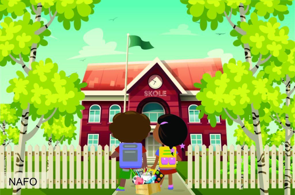 To barn står foran en skole, i henda holder det Skolekassa verktøykasse.